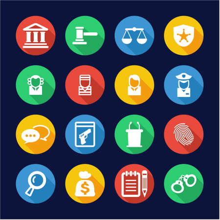 evidence bag: Courthouse Trial Icons Flat Design Circle Illustration