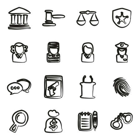 courthouse: Courthouse Trial Icons Freehand