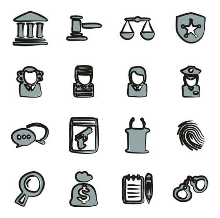 courthouse: Courthouse Trial Icons Freehand 2 Color