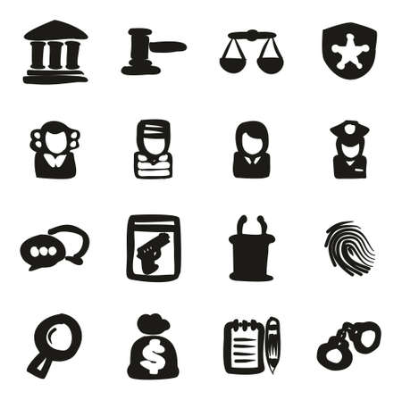burglar proof: Courthouse Trial Icons Freehand Fill Illustration