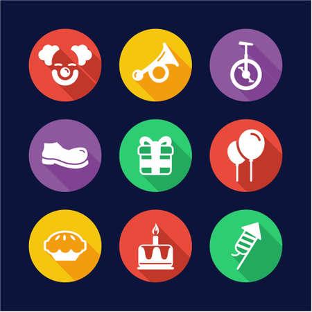 dork: Clown Icons Flat Design Circle