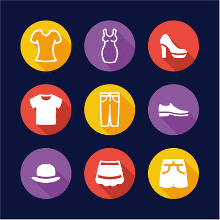 v neck: Clothing Icons Flat Design Circle