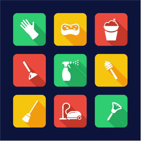 plunge: Cleaning Icons Flat Design