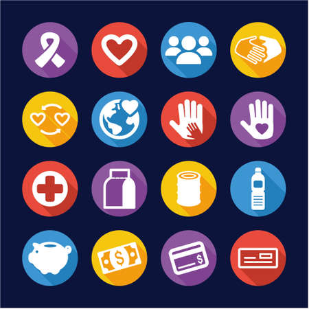 fundraiser: Charity Icons Flat Design Circle