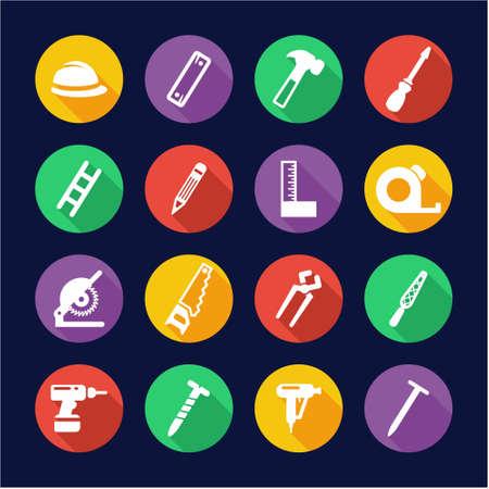 deep drilling: Carpenter Icons Flat Design Circle