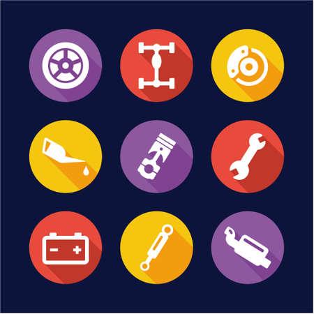 lube: Car Mechanic Icons Flat Design Circle