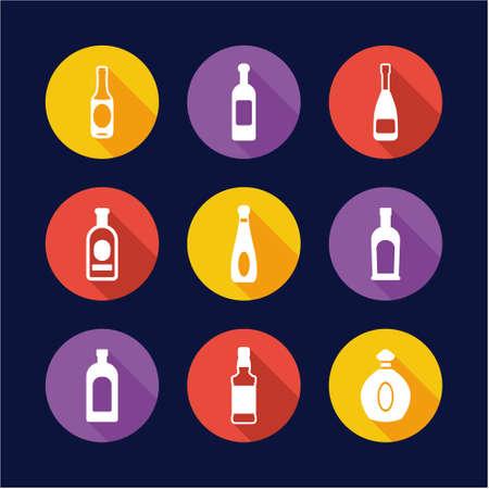 Bottle Icons Flat Design Circle