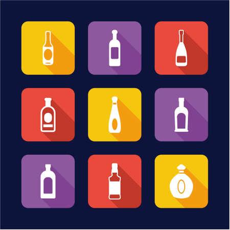 carbonated beverage: Bottle Icons Flat Design