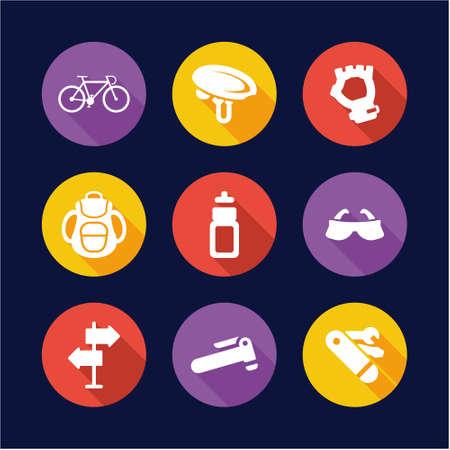 llave de sol: Bicicleta de iconos planos del diseño del círculo