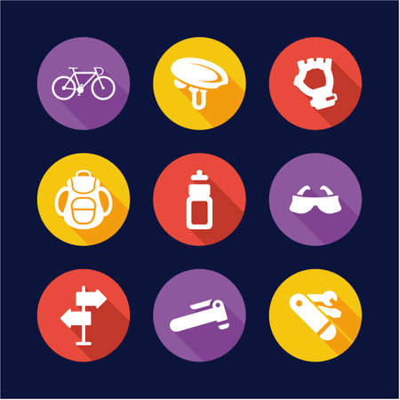 safety equipment: Biking Icons Flat Design Circle