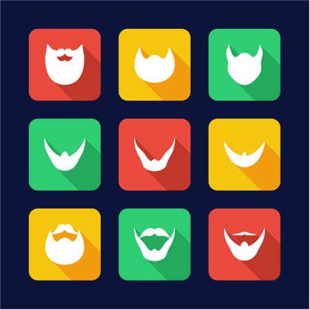 goatee: Beard Icons Flat Design Illustration