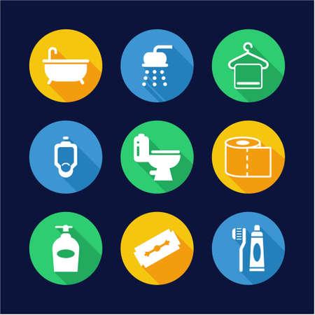 bathroom design: Bathroom Icons Flat Design Circle