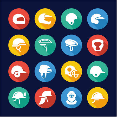 super cross: Helmet Icons Flat Design Circle