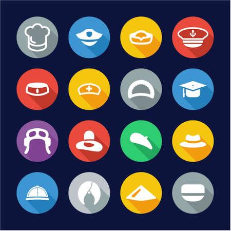sexy army: Hat Icons Flat Design Circle Set 1 Illustration