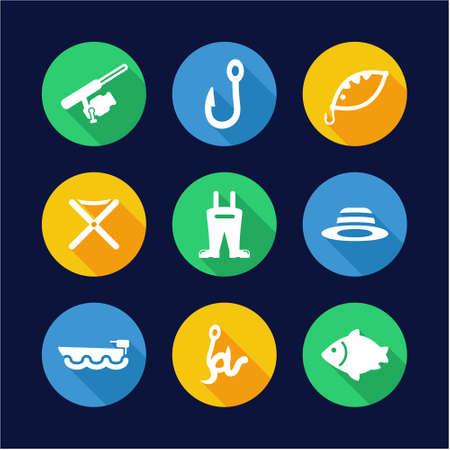 minnow: Fishing Icons Flat Design Circle