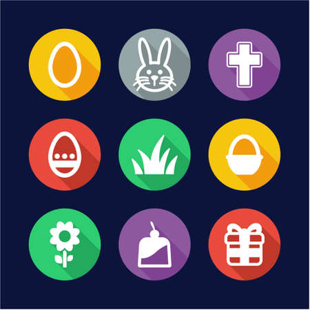 chocolate brownie: Easter Icons Flat Design Circle