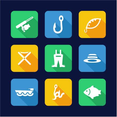minnow: Fishing Icons Flat Design