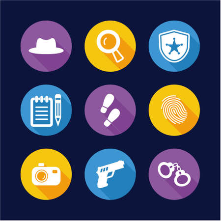 Detective Icons Flat Design Circle