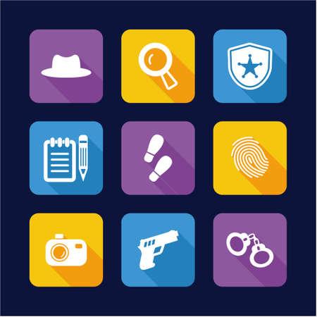 burglar proof: Detective Icons Flat Design