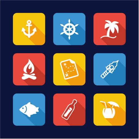 desert island: Desert Island Icons Flat Design Illustration
