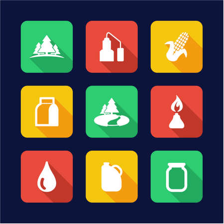 moonshine: Moonshine Icons Flat Design Illustration