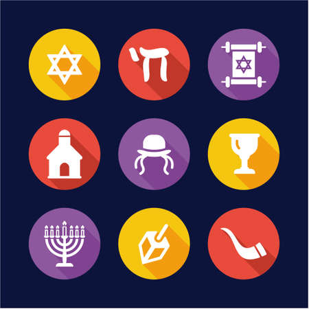 religious clothing: Judaism Icons Flat Design Circle