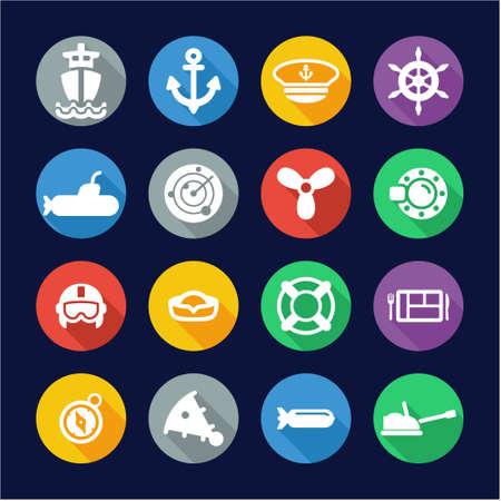 fleet: Navy Icons Flat Design Circle Illustration