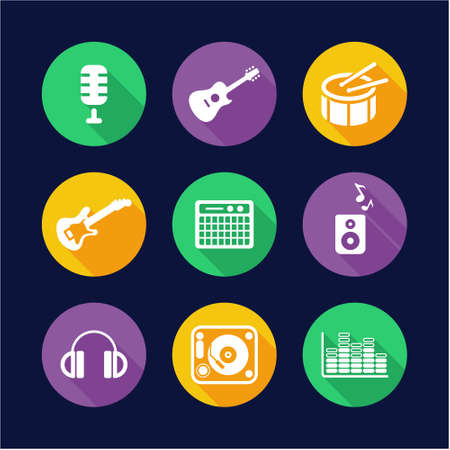 turn table: Music Studio Icons Flat Design Circle