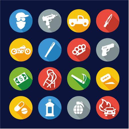 prostitution: Modern Gangster Icons Flat Design Circle