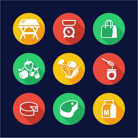 range fruit: Market Place Icons Flat Design Circle Illustration