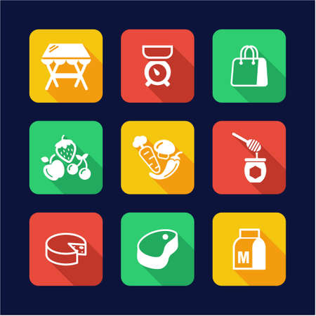 range fruit: Market Place Icons Flat Design