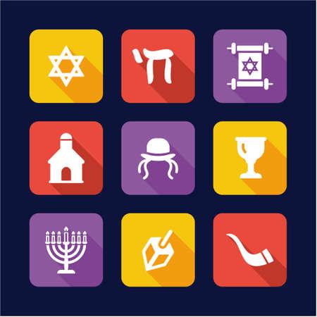 ten commandments: Judaism Icons Flat Design Illustration