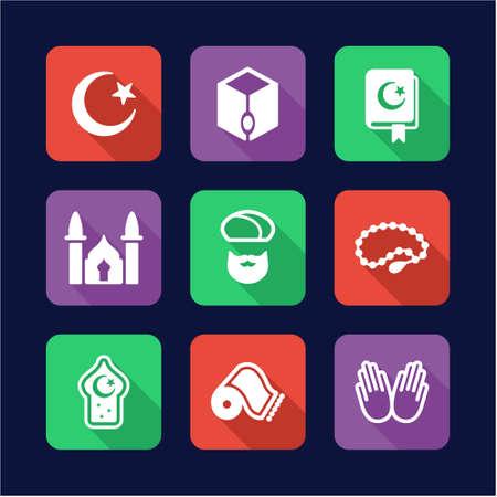 prayer shawl: Islamic Icons Flat Design Circle