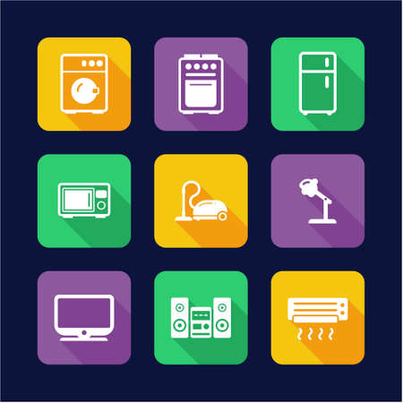 appliances icons: Household Appliances Icons Flat Design Illustration