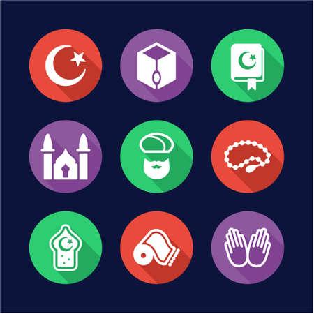 prayer shawl: Islamic Icons Flat Design