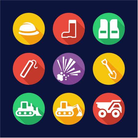 quarry: Quarry Icons Flat Design Circle Illustration