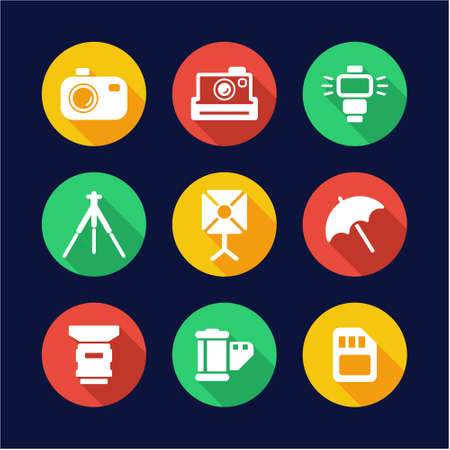 photography icons: Photography Icons Flat Design Circle