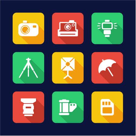 Photography Icons Flat Design Illustration