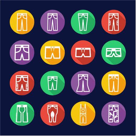 Pants Icons Flat Design Circle