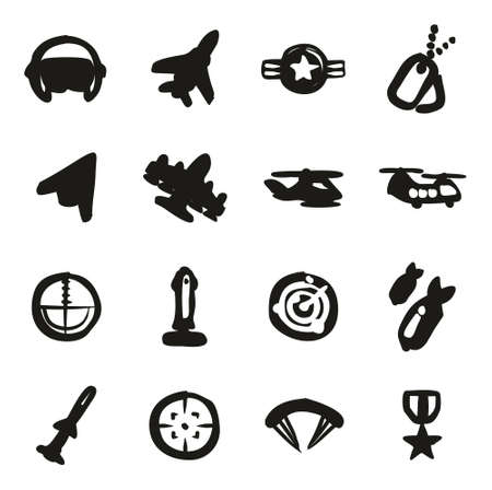 orden: Air Force Icons Freehand Fill Illustration
