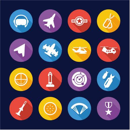 orden: Air Force Icons Flat Design Circle Illustration