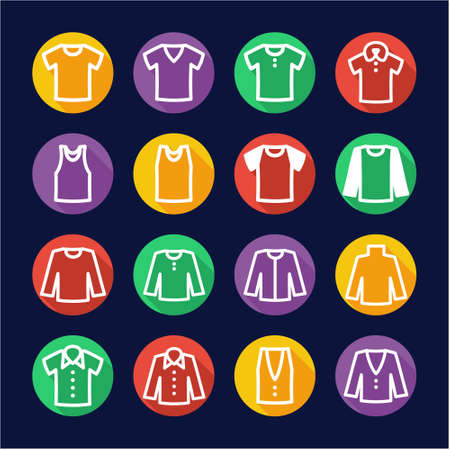 v neck: Shirt Icons Flat Design Circle Illustration