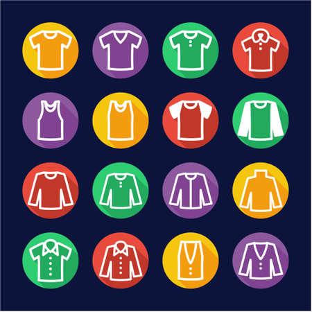 button up shirt: Shirt Icons Flat Design Circle Illustration