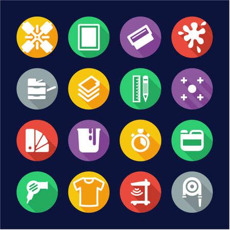 screen printing: Screenprinting Icons Flat Design Circle