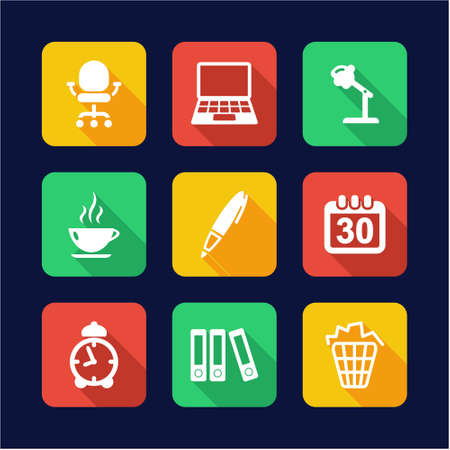 design office: Office Icons Flat Design