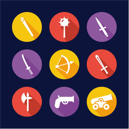 Old Weapons Icons Flat Design Circle