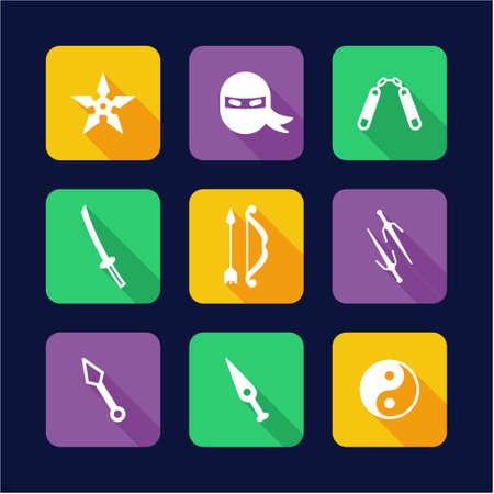 stealth: Ninja Icons Flat Design