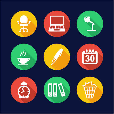design office: Office Icons Flat Design Circle