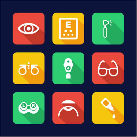 diopter: Optometry Icons Flat Design