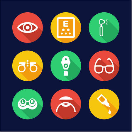 contact lens: Optometry Icons Flat Design Circle Illustration